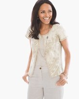 Chico's Beaded Foil-Print Cardigan