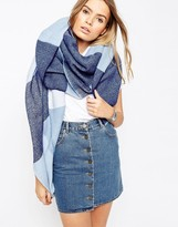 Asos Oversized Woven Blue Check Scarf
