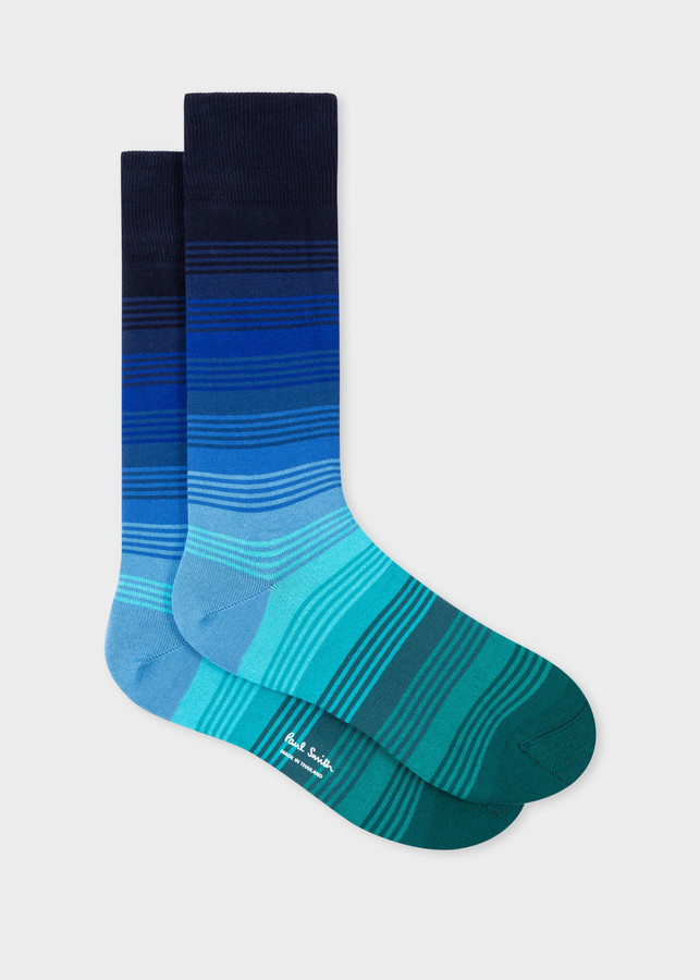 Paul Smith Men's Blue Tonal Stripe Socks