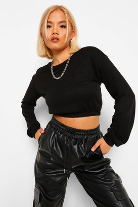 boohoo Petite Knitted Elasticated Sweatshirt