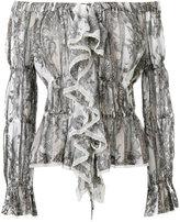 Roberto Cavalli printed ruffle bardot top - women - Cotton - 40