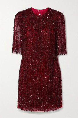 Naeem Khan Embellished Fringed Tulle Mini Dress - Claret