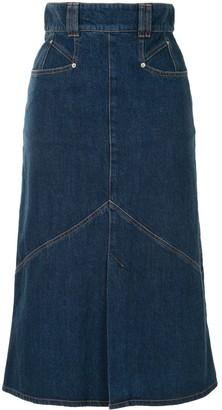 Isabel Marant Flared High-Waisted Denim Skirt