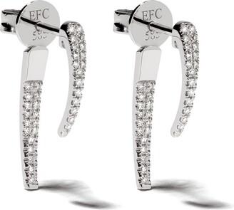 Ef Collection 14kt White Gold Diamond Hook Earrings