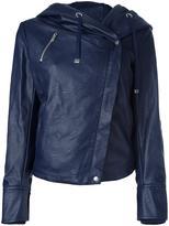 Twin-Set hooded biker jacket - women - Cotton/Polyester/Viscose/Polyurethane Resin - XS