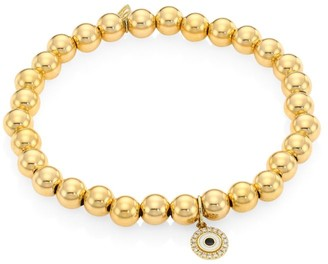 Sydney Evan 14K Yellow Gold & Diamond Evil Eye Charm Beaded Bracelet