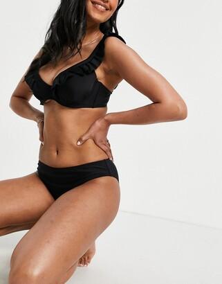 Pour Moi? Pour Moi Fuller Bust space high leg bikini bottom in black