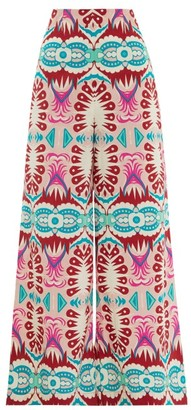 Le Sirenuse, Positano - Stephan Fish Tail-print Wide-leg Cotton Trousers - Pink Print