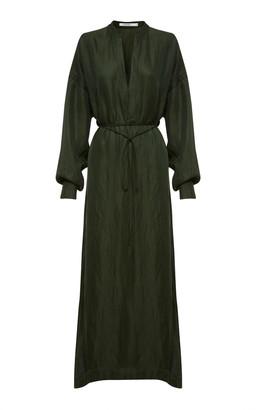 BONDI BORN Tie-Front Cupro and Linen-Blend Midi Dress
