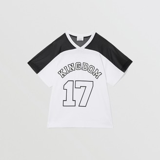 Burberry Childrens Mesh Panel Kingdom Print Cotton T-shirt