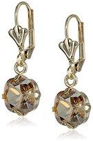 Swarovski Oroclone Crystal Luxe Emerald Cut Golden Shadow Drop Earrings