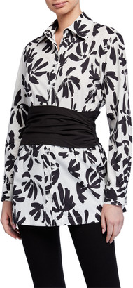 Finley Kenny Thatched Floral Tunic with Cummerbund