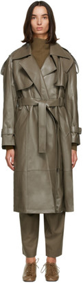 Low Classic Khaki Faux-Leather Trench Coat