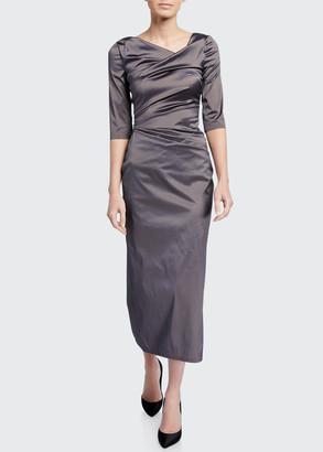 Talbot Runhof 1/2-Sleeve Stretch Silk Gown