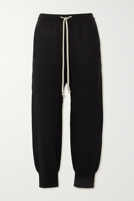 Rick Owens Cropped Cashmere Track Pants - Black