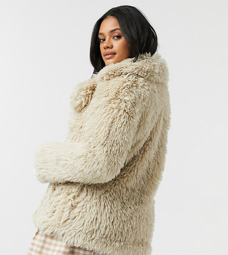 Urban Bliss faux fur coat in cream