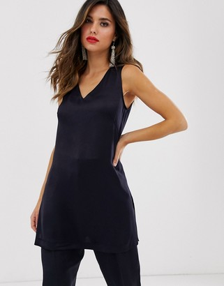 Closet London longline tunic top co-ord in navy-Blue