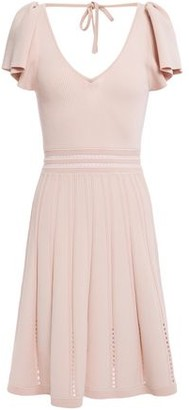 Sandro Edwin Pointelle-trimmed Cutout Ribbed-knit Dress