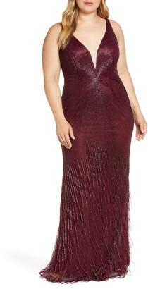 Mac Duggal Bead Stripe and Fringe Column Gown