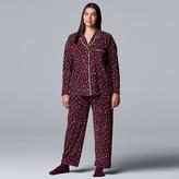 Vera Wang Plus Size Simply Vera 3-Piece Velour Pajamas & Socks Set