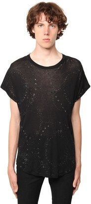 Saint Laurent Galaxy Glittered Sheer Cotton T-Shirt