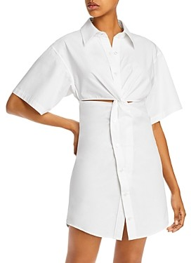 Alexander Wang Crisp Cotton Poplin Mini Shirtdress