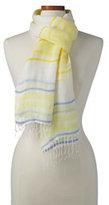 Lands' End Women's Variegated Stripe Linen Scarf-Horizontal Multi Stripe