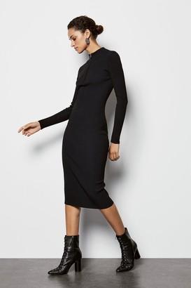Zip Neck Skinny Rib Dress