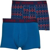 Ben Sherman Mens Yule Two Pack Trunks Navy/Red/Blue Print