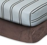 Go Mama Go Designs Fitted Crib Sheet - Blue and Chocolate Stripe