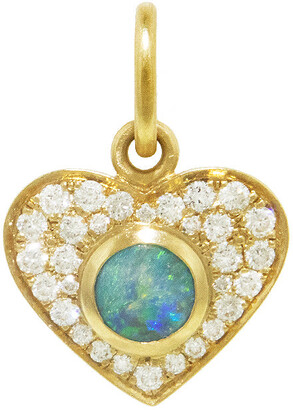 Irene Neuwirth Boulder Opal and Diamond Pave Heart Yellow Gold Charm