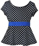JCPenney Pinky Polka Dot Peplum Top - Girls 4-16 and Plus