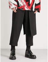 Yohji Yamamoto Side-skirt overlay relaxed-fit wool trousers