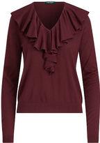 Ralph Lauren Petite Ruffled V-Neck Sweater