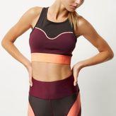 River Island Womens RI Active burgundy block sports bra