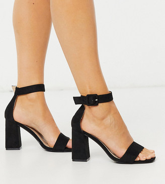 Raid Wide Fit Dakota square toe block heeled sandals in black