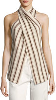 Rosie Assoulin Striped Linen Halter Top, Brown Pattern