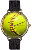 Whimsical Watches Women's N0840003 Softball Lover Black Leather And Goldtone Photo Watch