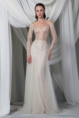 Tony Ward Long Sleeve Hand Embroidered Tulle Gown