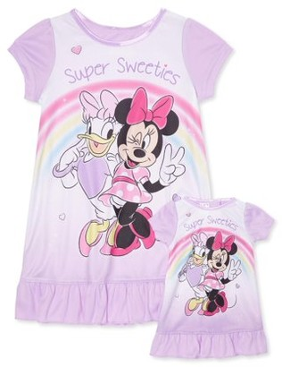 Disney Minnie Mouse Toddler Girls Matching Doll & Me Short Sleeve Nightgown Pajamas, 2pc Gift Set (2T-4T)