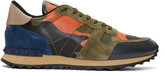 Valentino Green and Orange Camo Rockrunner Sneakers