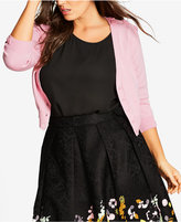 City Chic Trendy Plus Size Bow-Trim Cardigan
