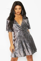 Thumbnail for your product : boohoo Plus Sequin Wrap Sleeve Skater Dress