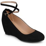 Journee Collection Women's Tibby Faux Suede Ankle Strap Covered Wedges