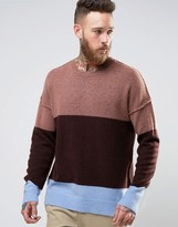 Asos Oversized Jumper With Block Stripes And Burst Seams