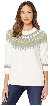 Elliott Lauren Fair Isle Crew Neck Fully Fashioned Raglan Sweater (Ivory/Green) Women's Sweater