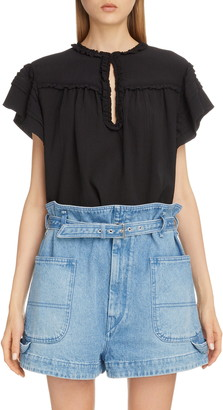 Isabel Marant Ruffle Trim Keyhole Cotton & Silk Top