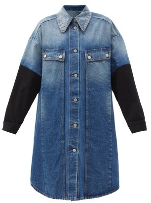 MM6 MAISON MARGIELA Contrast-sleeve Denim Shirt Dress - Denim