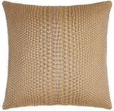 "Square Feathers D'Or Metallic Pillow, 20""Sq."