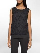 Calvin Klein Womens Feather Mesh Sleeveless Top Shirt